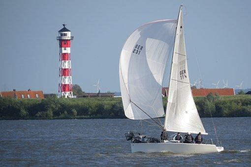 Elbe, Beacon, Sailing Boat, Lighthouse, Daymark