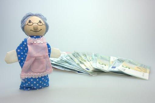 Doll, Grandma, Children Toys, Wood, Play, Money