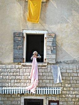 Laundry, Grandma, Hanging, Woman, Drying, Clothesline