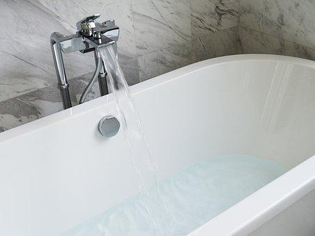 Bathtub, Faucet, White, Bathroom, Clean, Water, Modern
