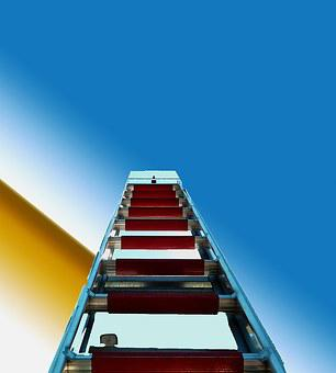Mountains, Turntable Ladder, Use, Fire, Firmament