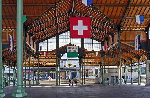 Montreux, Market Hall, Event Hall, Flags, Vaud