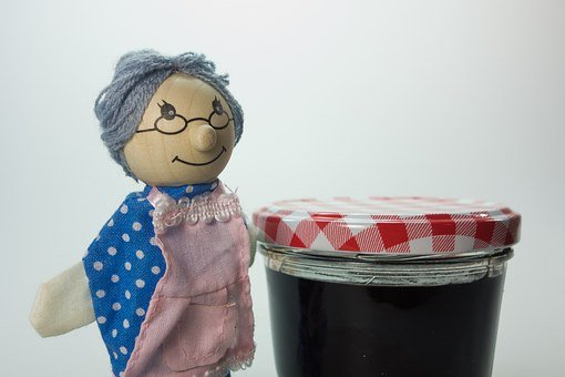 Doll, Grandma, Jam, Children Toys, Wood, Play