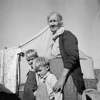 Old Woman, Children, Farm, Tent, Grandma, Vintage