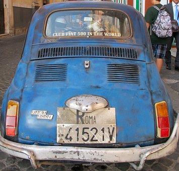 Fiat, Cinquecento, 500, Car, Classic, Italy, Roma
