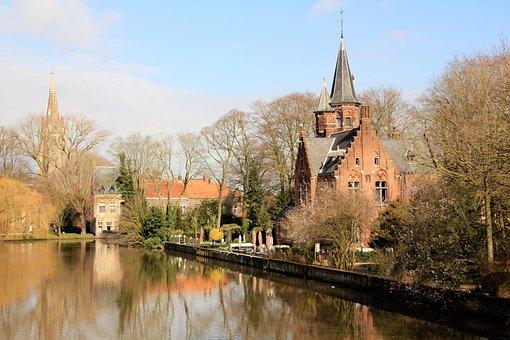 Belgium, River, House, Water, Landscape, Campanile