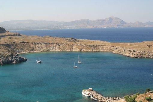 Greece, Rhodes Island, Lindos, Seascape, Landscape