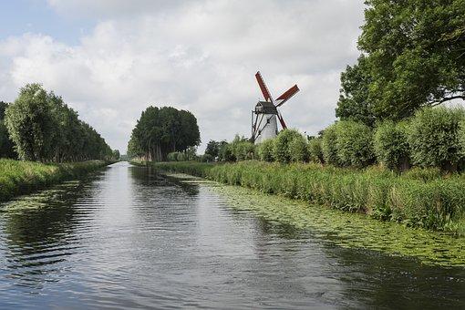 Damme Bruges, Channel, Light, Nature, Mill