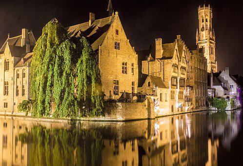 Bruges, Channels, Nocturne, Night Photography, Belgium