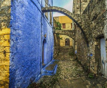 Rhodes, City, Old Town, Arc, Greece, Island, Great, Sun