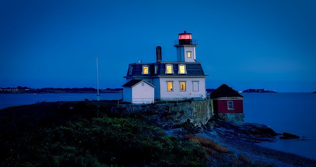 Rose Island, Panorama, Lighthouse, Light, Building