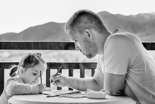 Girl, Father, Portrait, Eyes, Outdoor, People, Cute