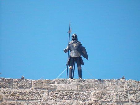 Rhodes, Knight, Wall, Masonry, Weathered, Stone Wall