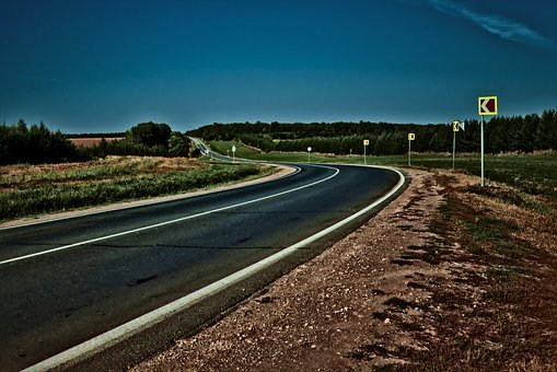 Road, Asphalt, Summer, Trees, Landscape, Russia, Sky