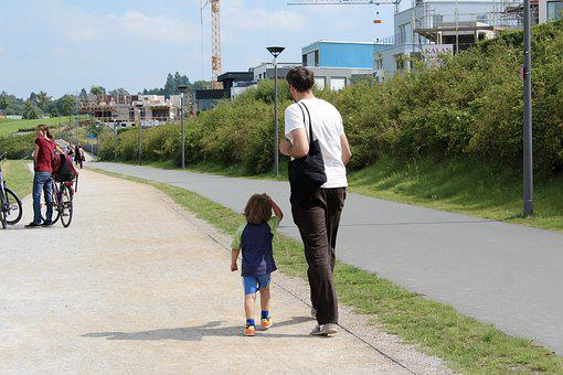 Father, Papa, Son, Walk, Run, Go, Go For A Walk