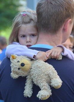 Child, Father, Teddy, Hamburg, Summer, Road, Security