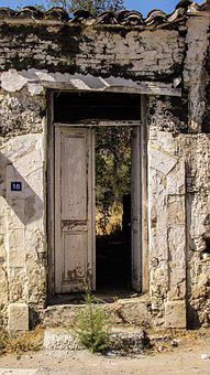 Cyprus, Sha, Old House, Abandoned, Ruins, Entrance