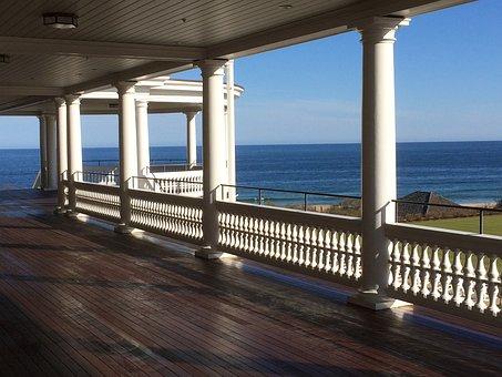 Porch, Seashore, Shore, Ocean, Horizon, Vista, Sky