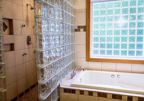 Shower, Tub, Bathroom, Ceramic Tile, Glass Blocks