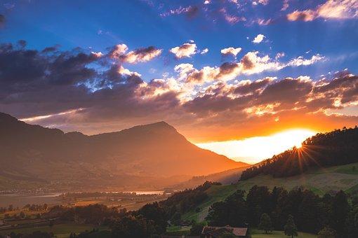 Sun, Sunset, Abendstimmung, Afterglow, Sunbeam, Valley