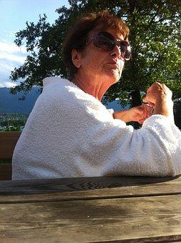 Grandma, Sunglasses, Bathrobe