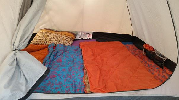 Tent, Sleeping Bags, Camping