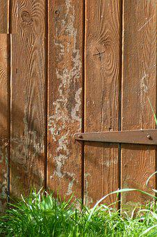 Shed Door, Rustic, Wasp Marks, Wasps Making Nest