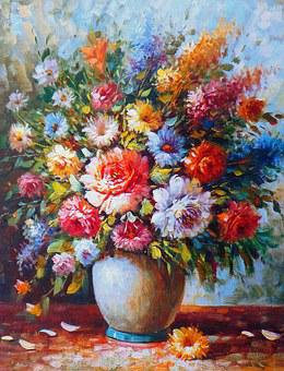 Oil Painting, Painting, Image, Art, Artwork, Flowers