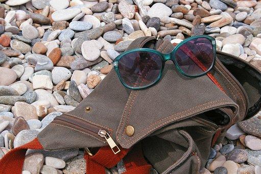 Photo Bag, Sunglasses, Holiday, Summer, Beach, Sea