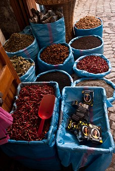 Spices, Morocco, Blue, Street, Typical