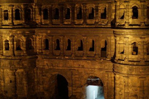 Trier, Porta, Night, Light, Building, Facade