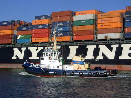 Arion, Tugboat, Port, Container Ship, Cargo, Navigation