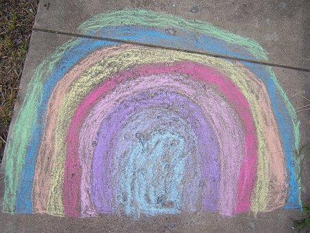 Chalk, Sidewalk Chalk, Rainbow, Chalk Art