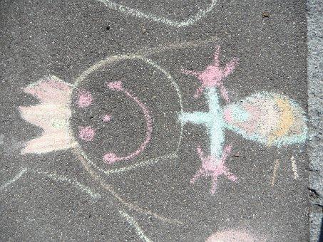 Children Drawing, Princess, Street Chalk, Painting