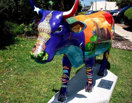 Cow, Street Art, Sculpture, Colorful, Decoration