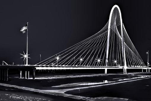 Bridge, Dallas, Santiago Calatrava Black And White