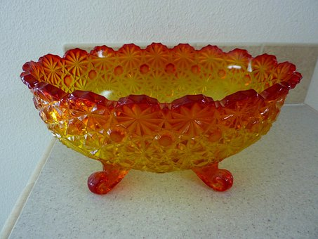 Bowl, Carnival Glass, Decoration, Dishes, Kitchen