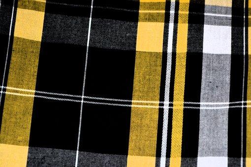 Plaid, Yellow, Black, Pattern, Fabric, Textile, Tartan
