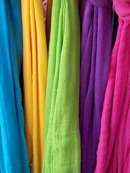 Scarves, Colours, Rainbow, Female, Clothing, Fabric