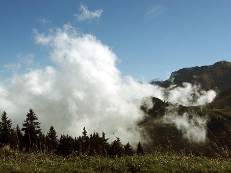 Fog, Switzerland, Bernese Oberland, Mountaineering