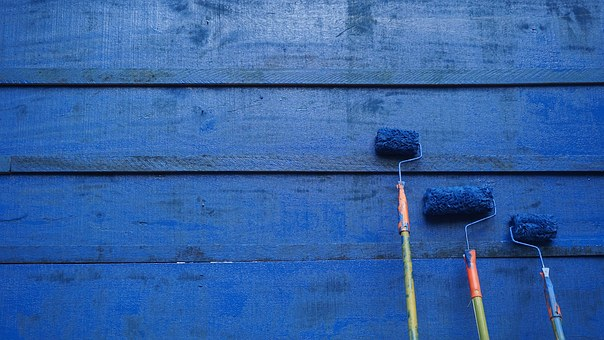 Paint, Blue, Wall, Lackluster, Roller