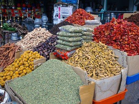 Spices, Market, Cardamom, Ginger, Chili, Cinnamon