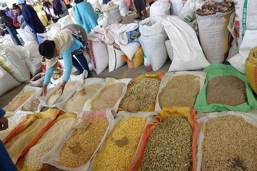 Market, Corn, Seeds, Spices, Bags