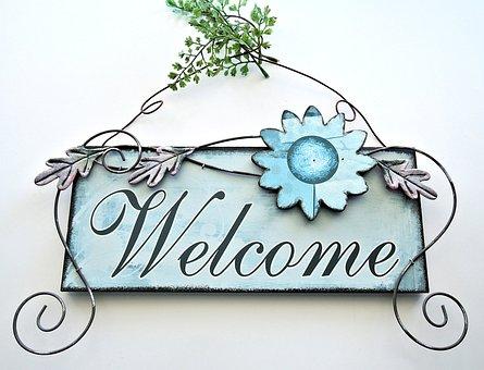 Welcome Door Art, Metalic, Painted, Decor, Outdoors