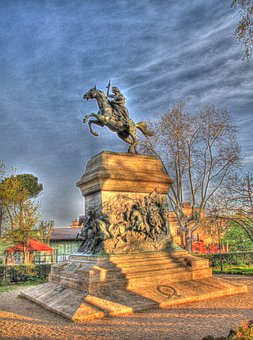Rome, Equestrian Statue, Hdr, Spring, Heroine, Morning