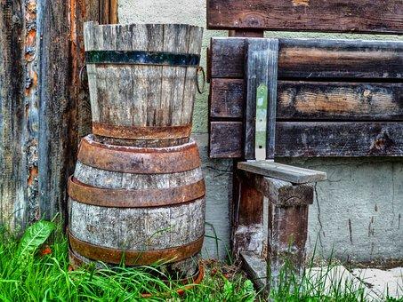 Wooden, Kegs, Barrels, Rusty, Metal, Farming, Iron, Old