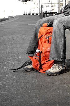 Shoes, People, Travel, Rucksack, Feet, Waiting, Orange