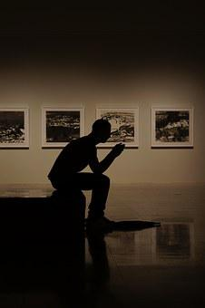 Man, Silhouette, People, Exhibitions, Thinking