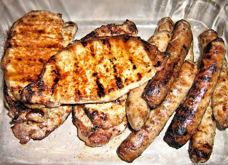 Bbq, Pork Chops, Sausage, Spices, Food