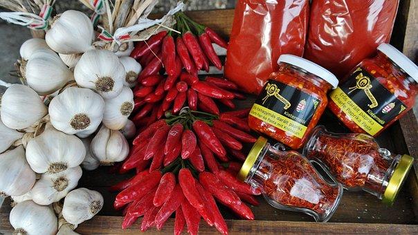 Spices, Paprika, Garlic, Market, Vegetables, Frisch